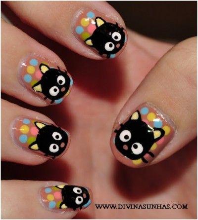 unhas decoradas infantil: Nails Nails, Chococat Nails, Kitty Cat, Nail Design, Choco Cat, Nail Ideas, Black Cat, Nail Art