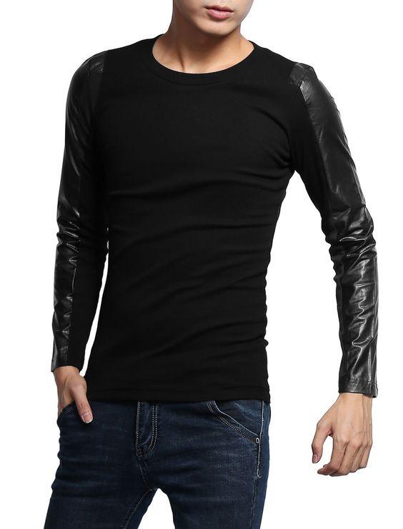 Amazon.com: Allegra K Mens Fashion Leather Sleeves Round Neck T Shirts: Clothing