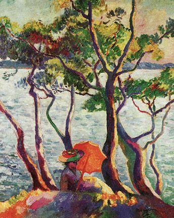 Jeune femme à l'ombrelle, 1906, Henri-Charles Manguin, (Bielefeld, Kunsthalle Bielefeld). Manguin est l'un des premiers peintres à se détacher des formules intimistes pour tenter une peinture de couleur pure, dans  le cadre du groupe des fauves, avec lesquels il expose au Salon d'automne en 1905, bien que les œuvres de Manguin présentent des solutions moins radicales.