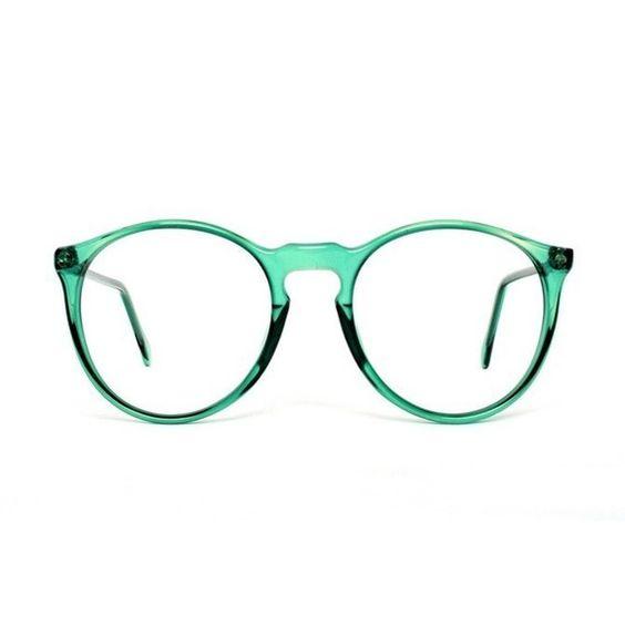 Green transparent Round Vintage Eyeglasses Glasses ...