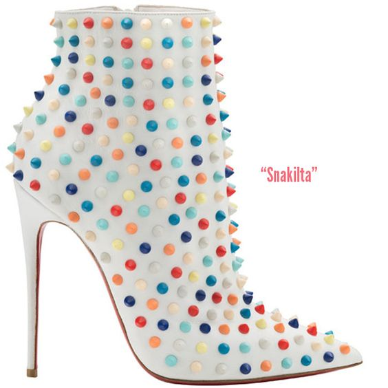 christian louboutin shoes on sale - Christian Louboutin 'Snakilta' White Bootie studded with multi ...
