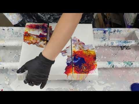 654 Triptych Hairdryer Fluid Painting Technique Youtube In 2020