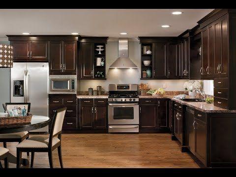 ديكور مطبخ صغير في بلادنا تتكون الشقق السكانية عادة من مطابخ صغيرة المساحة فتبعث الضيق Dark Wood Kitchen Cabinets Kitchen Cabinet Design Dark Kitchen Cabinets