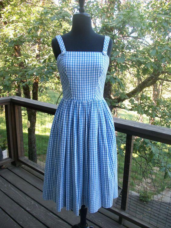 Lanz Blue &amp White Gingham Checkered Sun Dress XS  Sun dresses ...