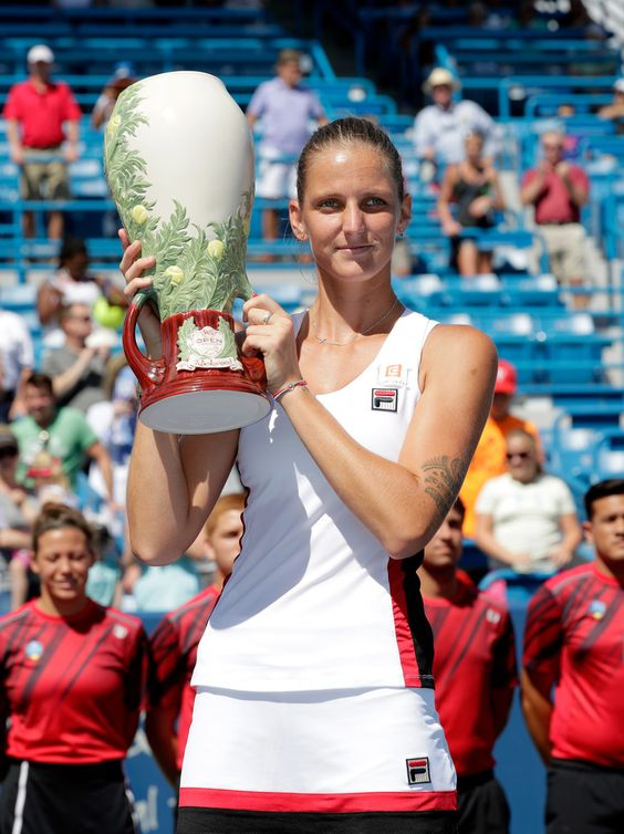 Karolina Pliskova of the Czech Republic holds the winner's trophy after winning the final match against Angelique Kerber during day 9 of the Western & Southern Open at the Lindner Family Tennis Center on August 21, 2016 in Mason, Ohio. (Source: Andy Lyons/Getty Images North America)