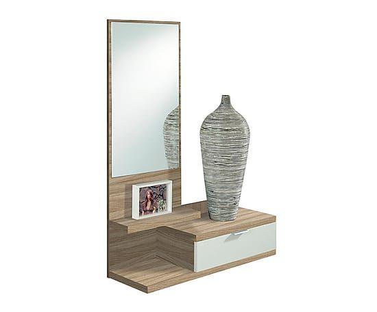 Mueble recibidor en melamina con espejo - natural y blanco. Largo: 81 cm Alto: 116 cm Ancho: 29 cm 167€