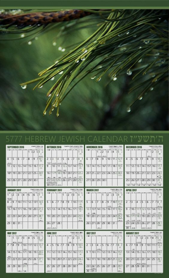Hebrew Jewish Photo Calendar Poster – Green Background – 5777 – 2017. A great Rosh Hashanah gift for the new Jewish year! This bilingual calendar features a custom photo, all Jewish holidays, Shabbat readings (Parashat Hashavuah). The dates are typed in Hebrew and in English. This calendar features 12 months of the Jewish year 5777 from September 2016 to August 2017. We wish you Shana Tova! (Happy New Year – Hebrew). More at www.superdazzle.com