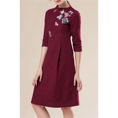awesome Embroidered Knee Length A Line Dress