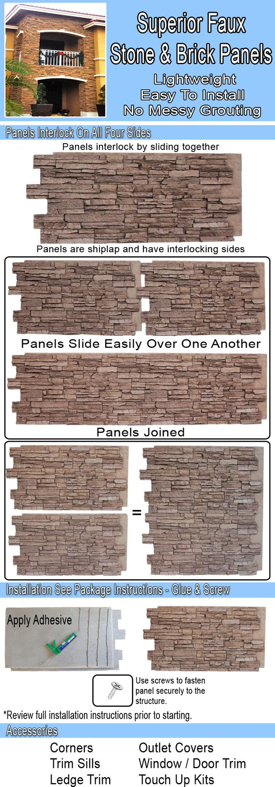 Superior Building Supplies Gray Rock 24 in. x 48 in. x 1-1/4 in. Faux Grand Heritage Stack Stone Panel - HD-COL2448-GR at The Home Depot