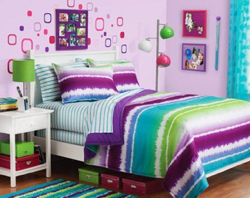 purple aqua and lime green comforter