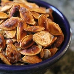 Carmelized Pumpkin Seeds- Toasted Pumpkin Seeds carmelized with olive oil and sugar