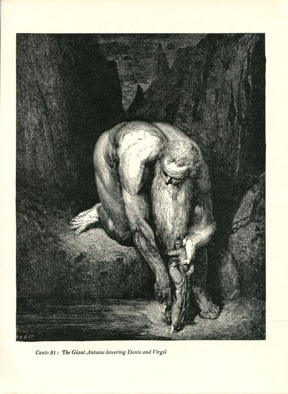 Gustave Dore Print /Bookplate 1948 Giant Antaeus Virgil Dante Divine Comedy #Realism