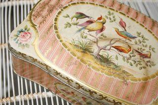 vintage bird tin