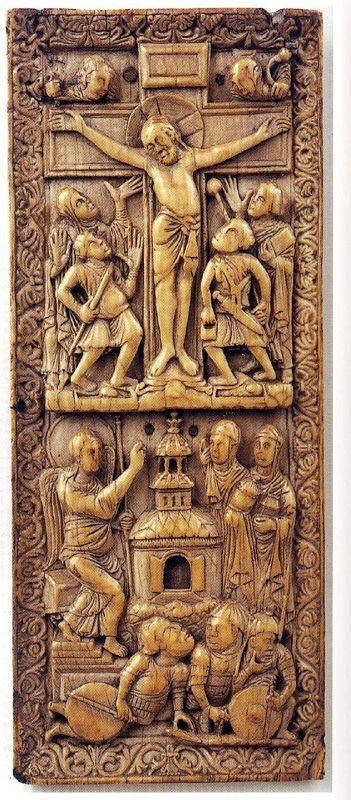 piece en ivoire carolingienne 9iéme représentant des hommes d'armes portant une lamellaire. piece en ivoire du tresor de la Cathédrale de Nancy,representant des gardes du St.Sepulcre: