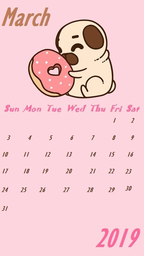 Cute March 2020 Calendar Printable For Kids Calendar 2019 Cute