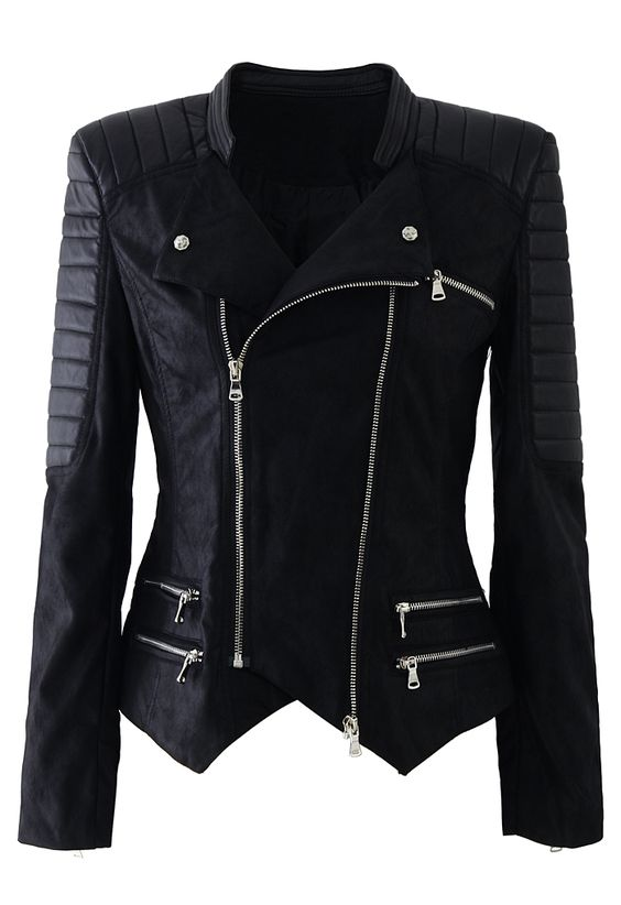 6743 faux leather zip quilt motocycle jacket