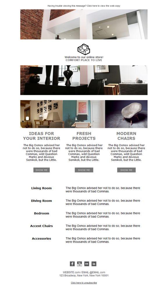 Plantillas newsletters pensadas para tu tienda de muebles for Tiendas muebles minimalistas