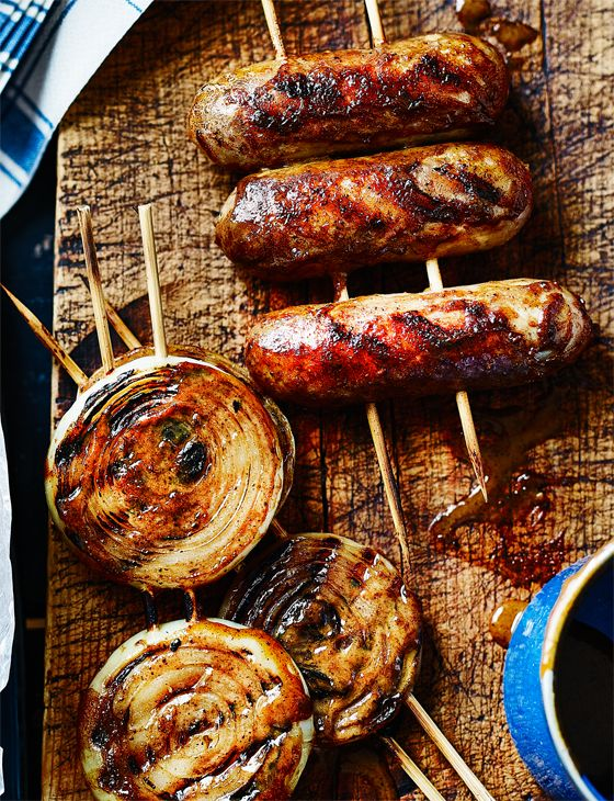 Sticky glazed sausages and onion rings - Absolutely perfect for on the barbecue