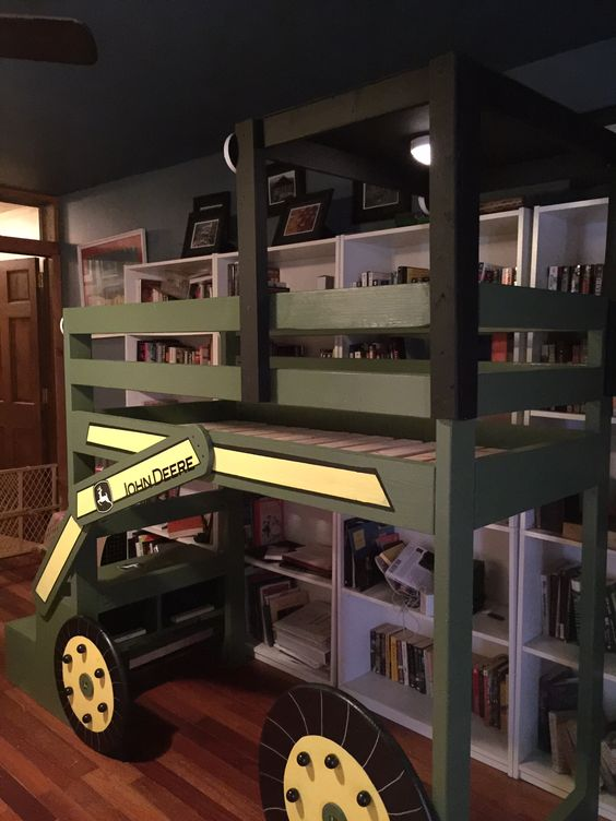 john deere toddler loft bed do it yourself home projects from ana white bed for ray. Black Bedroom Furniture Sets. Home Design Ideas