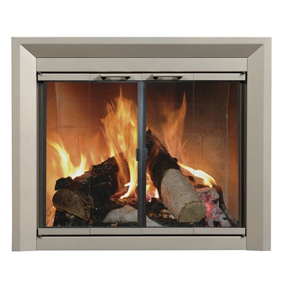 Fireplace glass doors doors and fireplace glass on pinterest for Residential retreat fireplace doors