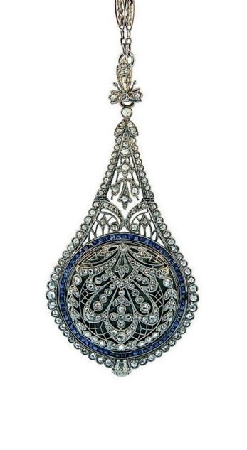 An exquisite Belle Époque sapphire, diamond and platinum pendant watch, by C.H.Meylan, circa 1900.