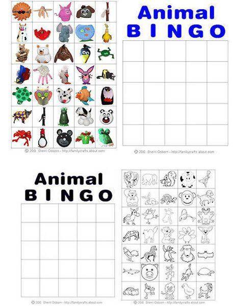 This is an image of Wild Animal Bingo Printable