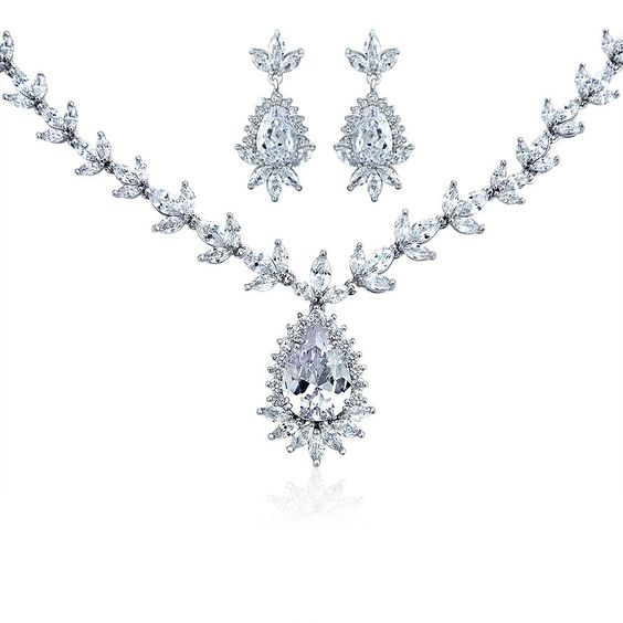 Bling Jewelry CZ Teadrop Bridal Necklace and Drop Earrings Set Rhodium Plated
