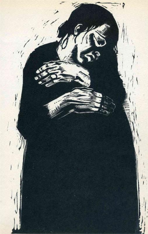 "The Widow - Kathe Kollwitz... ""In 1919, Käthe Kollwitz began work on Krieg (War), her response to the tragedies endured during what she called those ""unspeakably difficult years"" of World War I and its aftermath. The portfolio's seven woodcuts focus on the sorrows of those left behind—mothers, widows, and children."":"