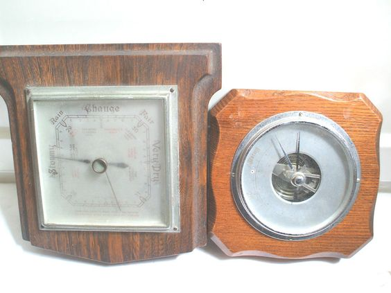 Shortland Smiths Oak Case SB Barometer 8 L & Another Visible Movement Barometer
