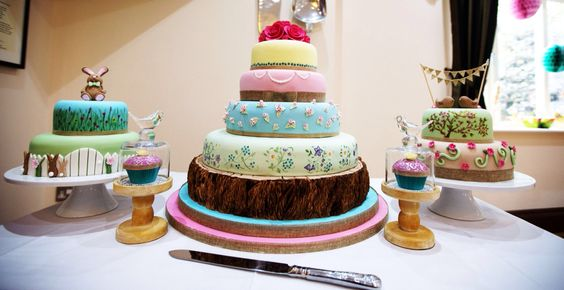 Wedding cakes  Easter rabbit Love birdsCherry blossom  rustic pastels