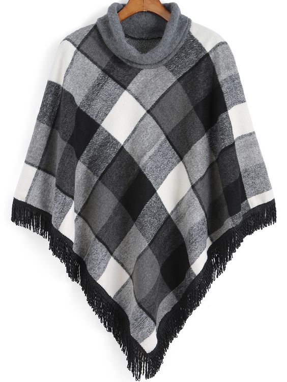 Grey High Neck Plaid Tassel Cape