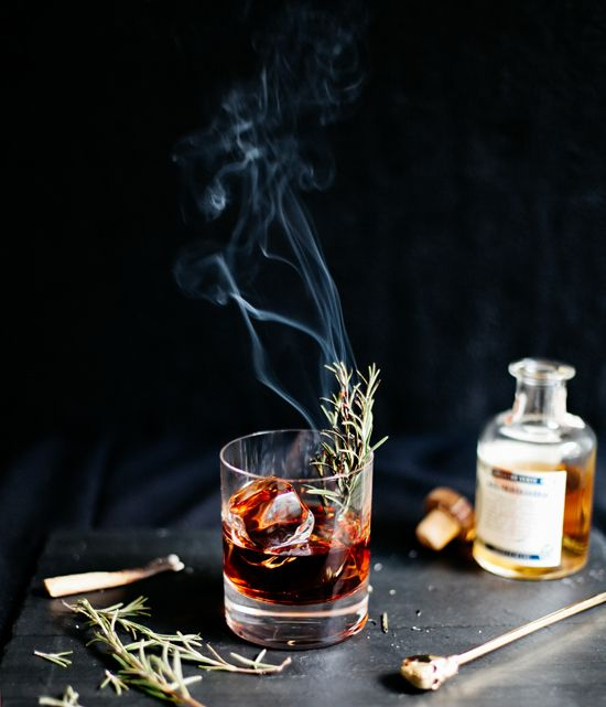 Sleepy Hollow cocktail inspired by nightly rides through the dark  forest, where the Headless Horseman gallops back and forth to the scene of  battle in a quest for his head. A smoky mezcal is blended with allspice  dram to bring together fall's autumnal flavors. To finish the drink, try  lighting up a sprig of rosemary and awaken the spirits of the night.