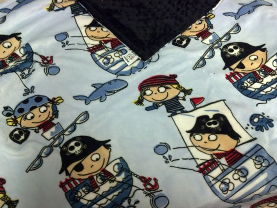 MINKY Baby Blue Pirates Blanket Several other styles by RNBDesignz, $28.95