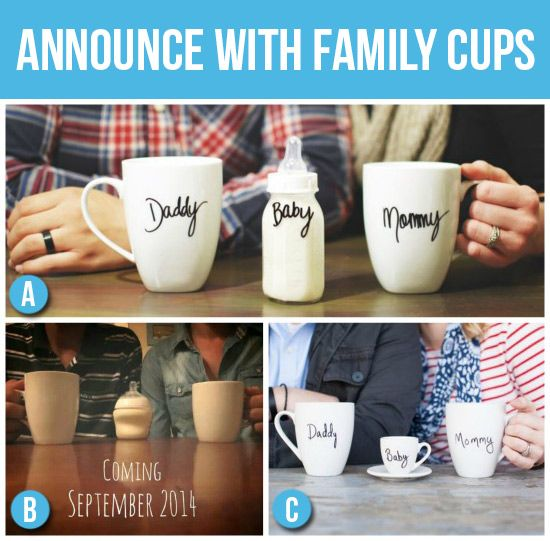 Pregnancy Announcement with Family Cups – Creative Baby Announcement