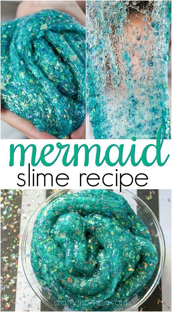 Sparkly Mermaid Slime Recipe - fun for little girl  who love the little mermaid and glitter! Confetti makes it shine. #sparklyslime #slime #slimerecipes #sensoryplay #mermaid #mermaidslime #craftymorning