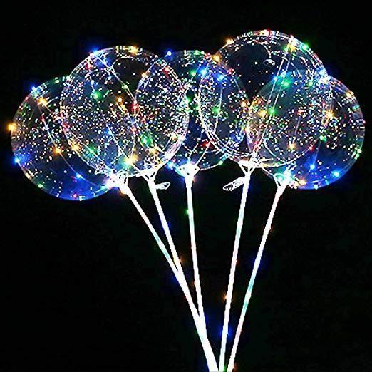 "2//5PCS 20/"" Luminous LED Fairy String Light Transparent Balloons Xmas Party Decor"