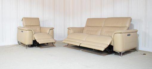Homeflair Sanza Leather Cream 3 Seater sofa + chair (32