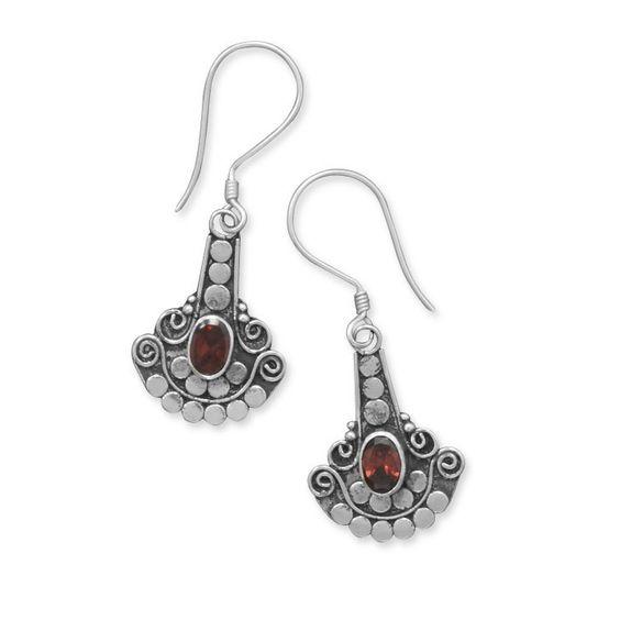 Oxidized Dot Design Garnet Earrings