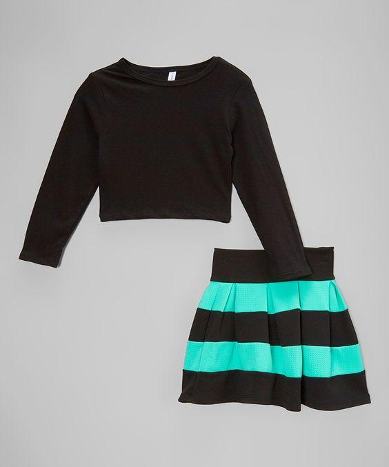 American Kids Mint u0026 Black Crop Top u0026 High-Waist Skirt ...