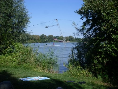 Aussicht vom Rastplatz an der Wasserskianlage Kalletal, Ostwestfalen-Lippe, Deutschland