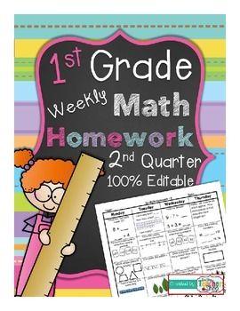 First Grade Common Core Spiral Math Homework - 2nd QUARTER