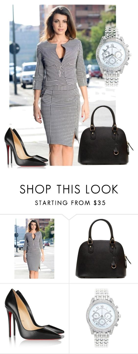 """""""Out for Work!"""" by stylecraver on Polyvore featuring Christian Louboutin, Lane Bryant, blackandwhite, suit, blackpumps and officewear"""