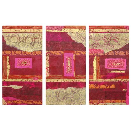 3 Piece Canvas Wall Art from Destination: Thailand at Joss and Main.Gold, vermilion, fuschia, lemon & ruby.