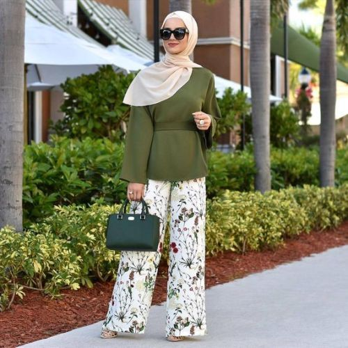 printed palazzo pants-Spring breathy hijab outfits – Just Trendy Girls