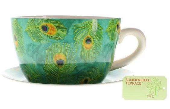 Peacock Feather Teacup Planter 10016839 Only $28.00 each with Free Shipping
