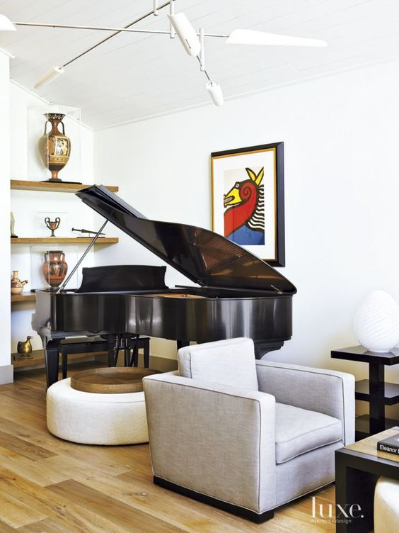 Contemporary white living room with grand piano luxe for Baby grand piano in living room