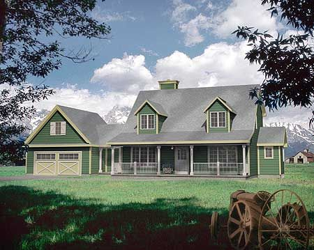 Front porches farmhouse and country on pinterest for Cape cod house plans with dormers