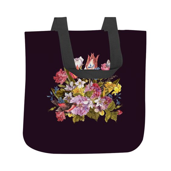 Budding Bouquet on Black Tote Bag