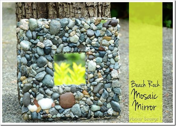 rock mosaic mirror ~ A fun craft for Moms and Daughters (or the whole family!)