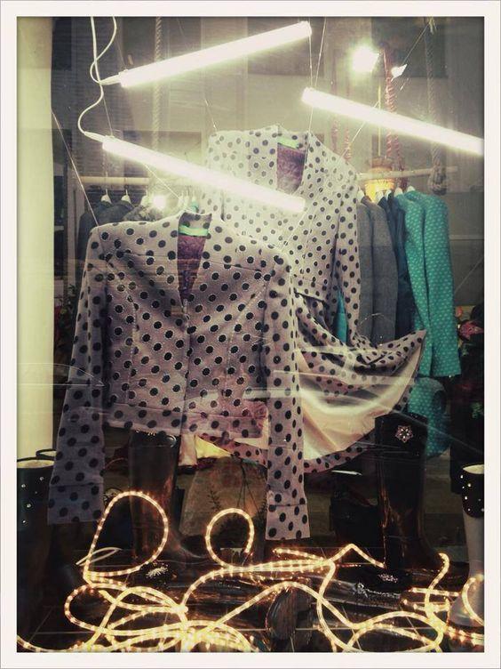 #lafemmemimi #fashion #designer #womensfashion #prague #window #grey #jacket #dots #lights